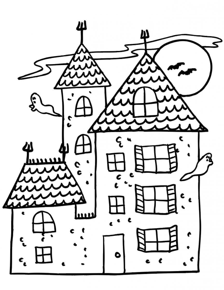 Tranh tô màu lâu đài Halloween