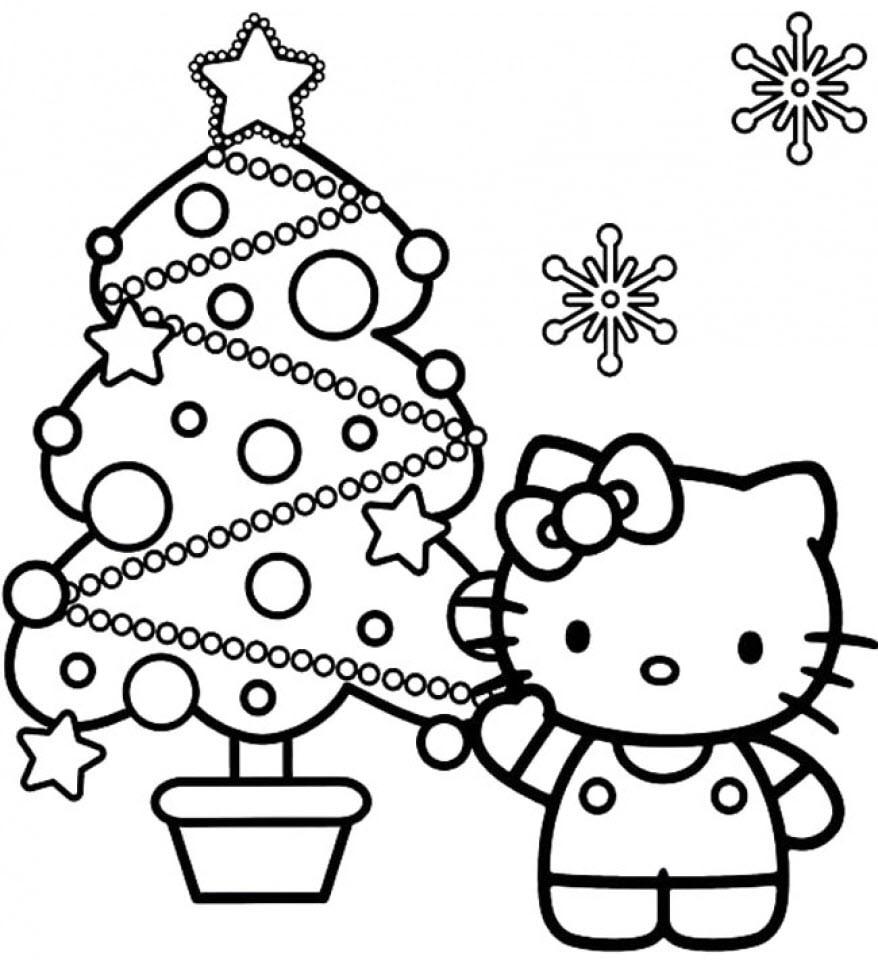 Tranh tô màu mèo Hello Kitty và cây thông