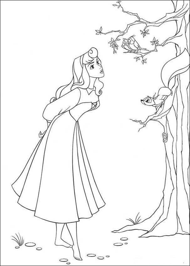 Tranh tô màu nàng công chúa ngủ trong rừng