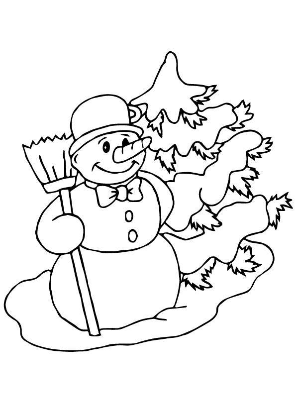 Tranh tô màu người tuyết và cây thông
