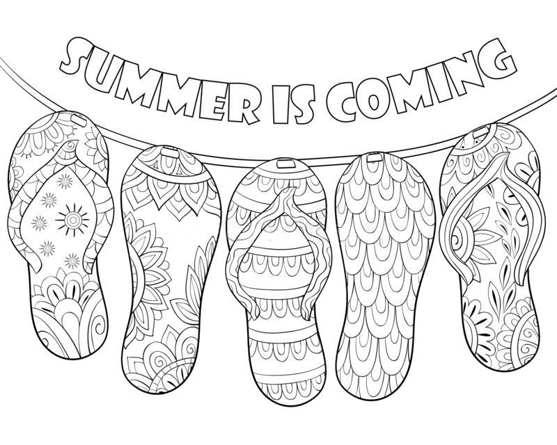 Tranh tô màu những đôi dép mùa hè