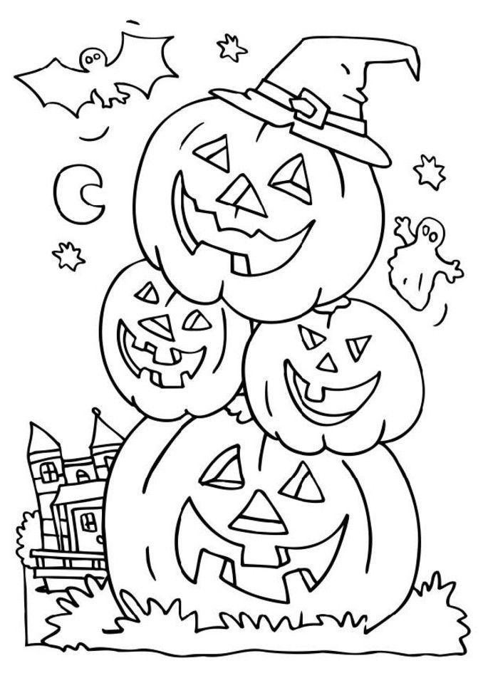 Tranh tô màu những quả bí ngô Halloween