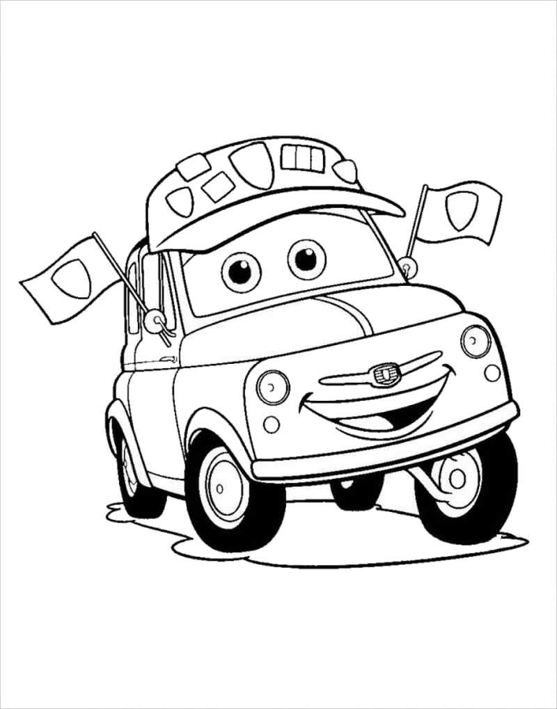 Tranh tô màu ô tô đua hoạt hình siêu dễ thương
