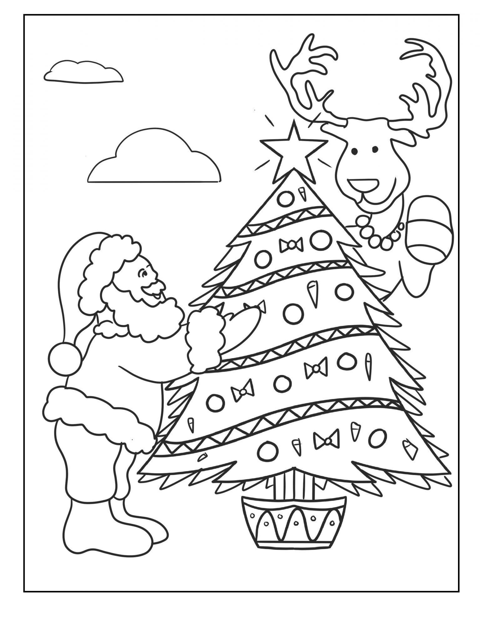 Tranh tô màu ông già Noel trang trí cây thông