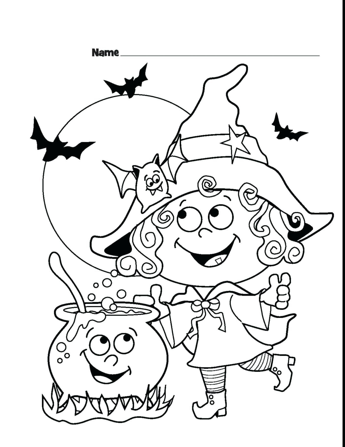 Tranh tô màu phù thủy Halloween dễ thương