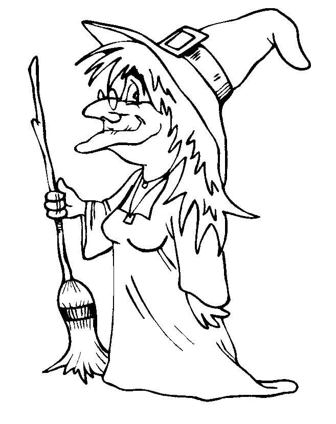 Tranh tô màu phù thủy Halloween già