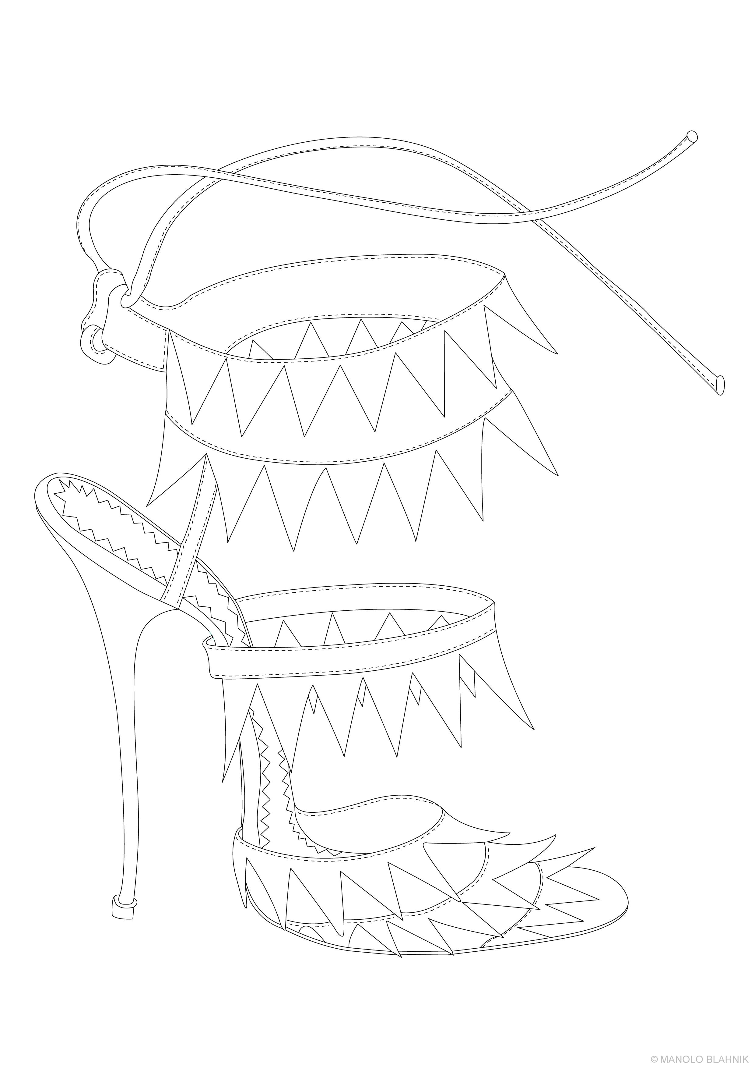 Tranh tô màu Sandal cao gót