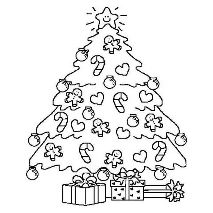 Tranh tô màu trang trí cây thông Noel