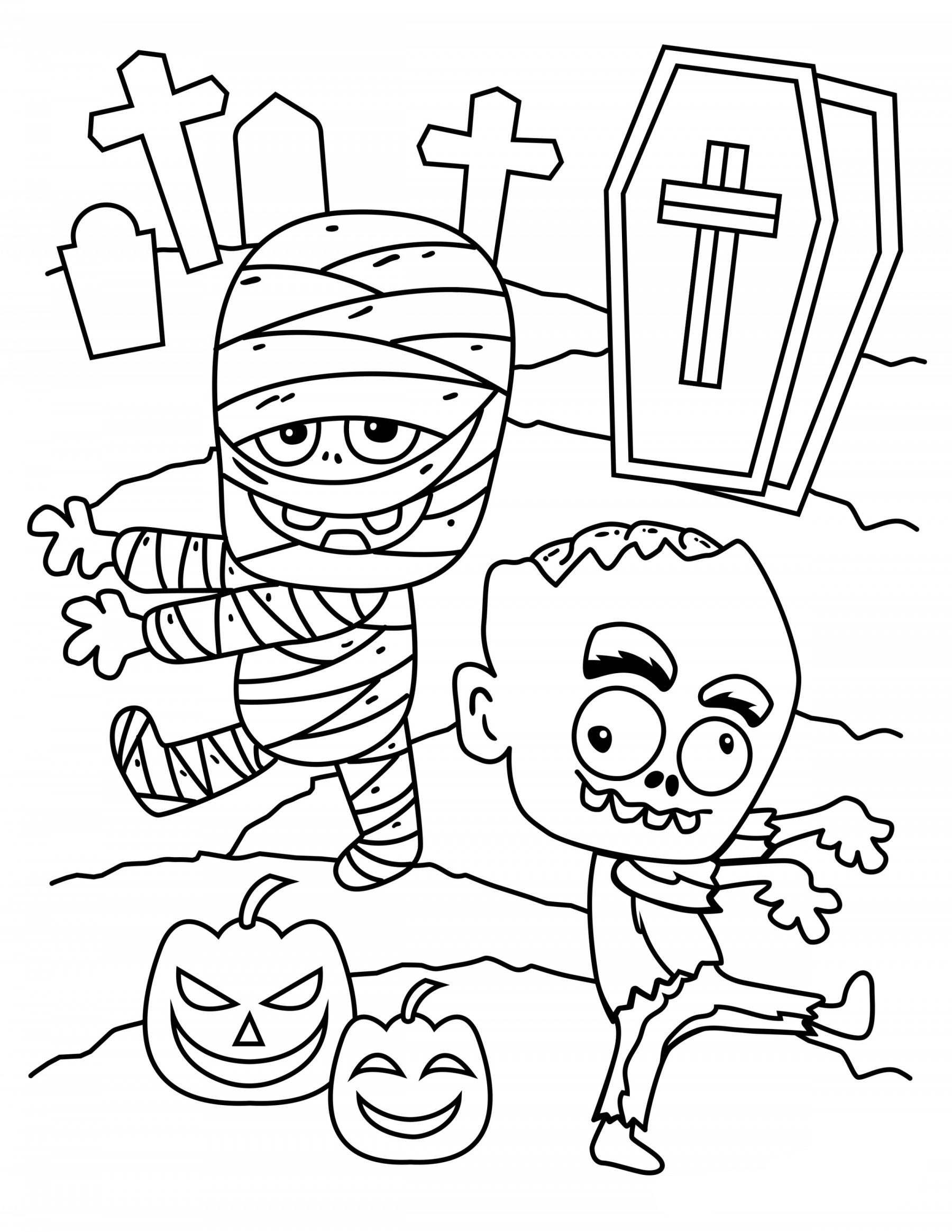 Tranh tô màu xác sống Halloween
