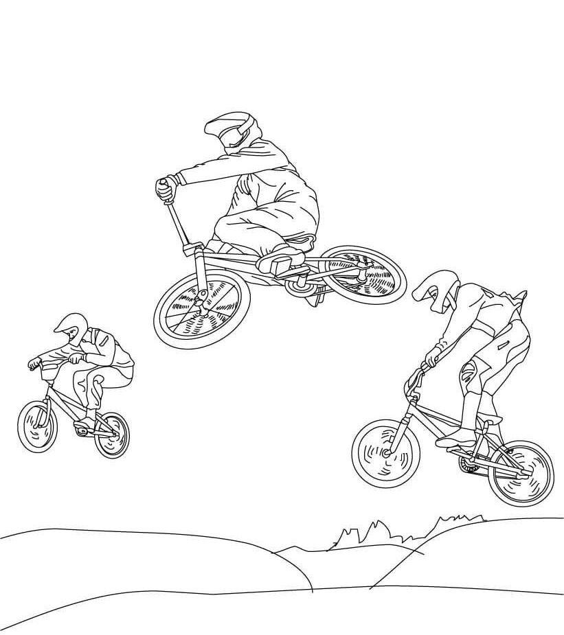 Tranh tô màu xe đạp đua