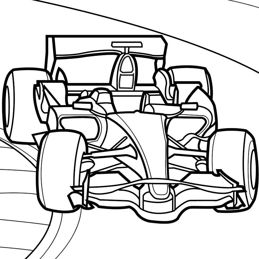 Tranh tô màu xe đua đẹp, sắc nét