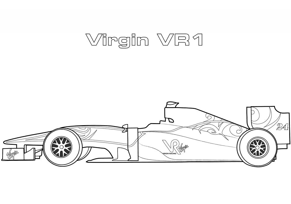 Tranh tô màu xe đua F1 Virgin VR1