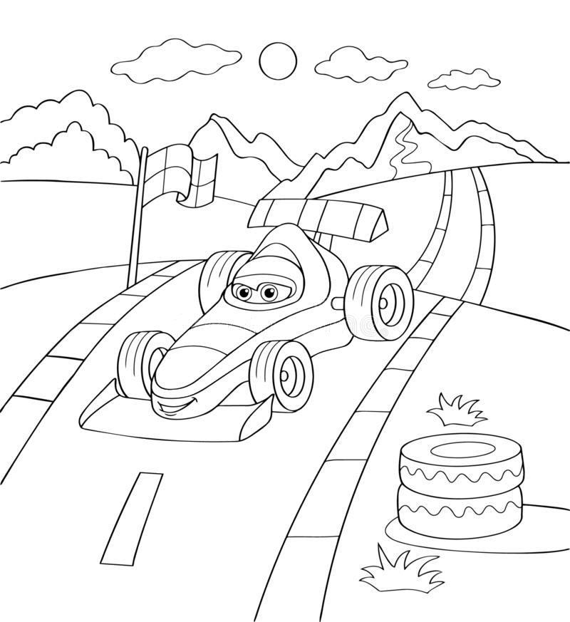 Tranh tô màu xe đua hoạt hình dễ thương