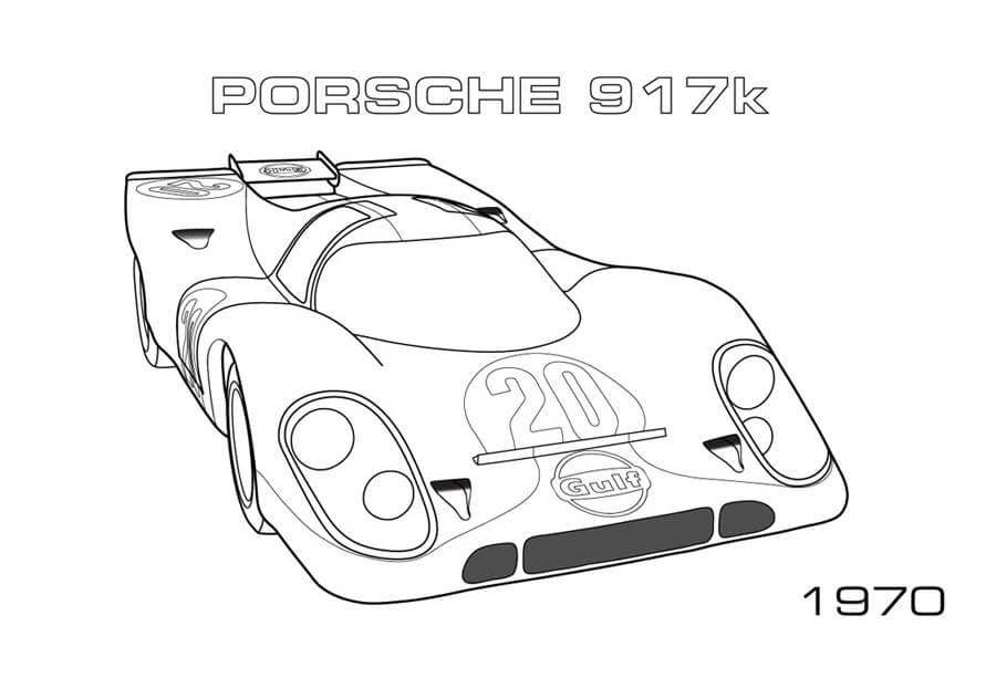 Tranh tô màu xe đua Porsche 917k