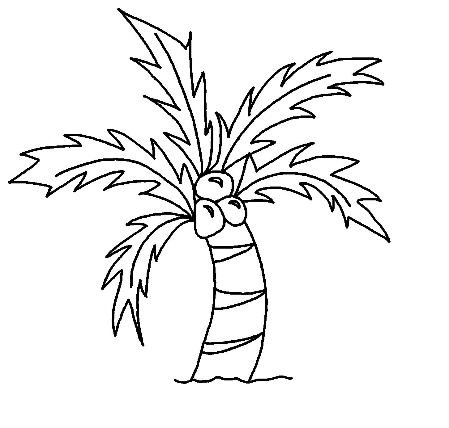 Hình cây dừa đơn giản cho bé tô màu