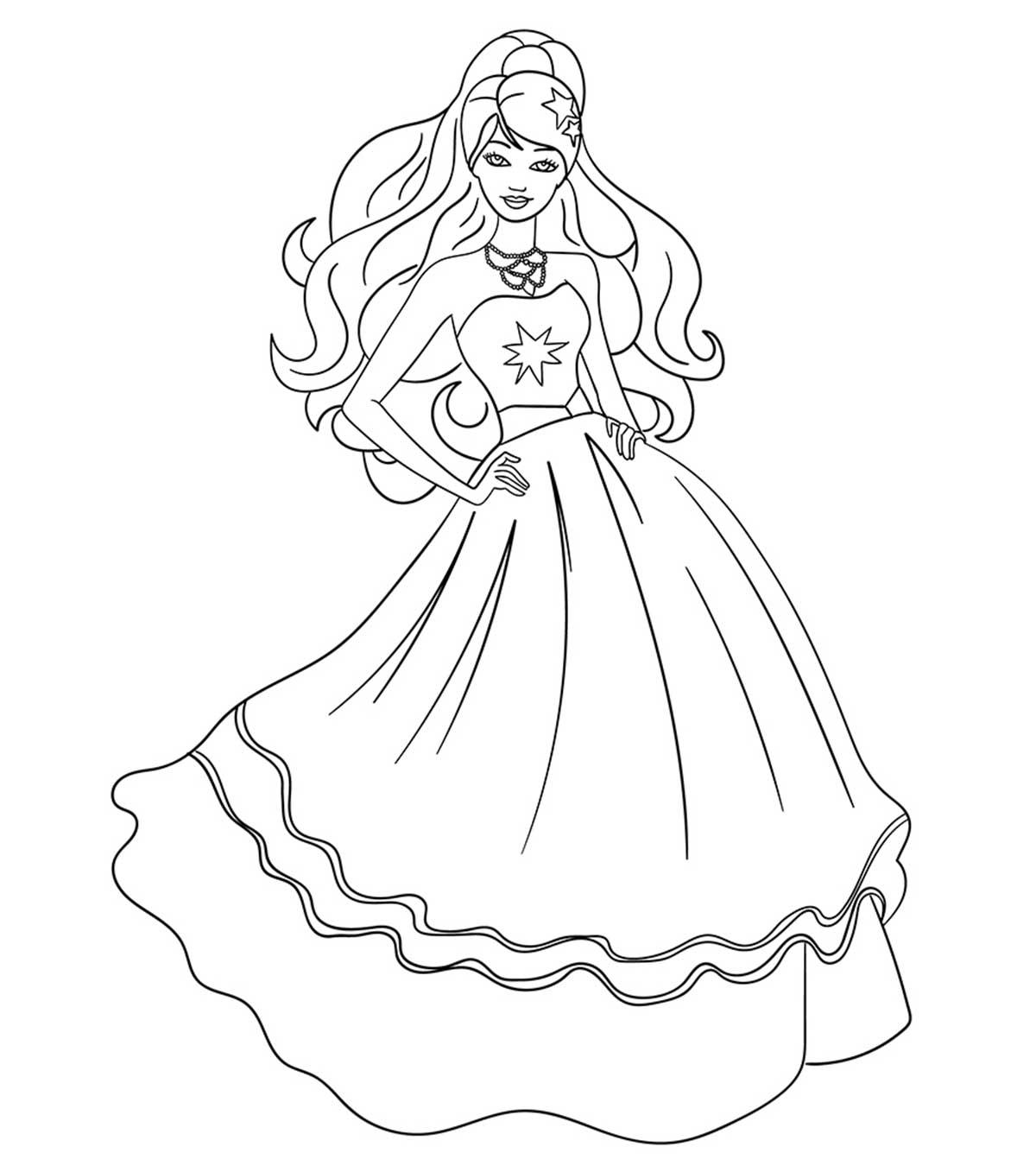 Hình công chúa Barbie tô màu cho bé