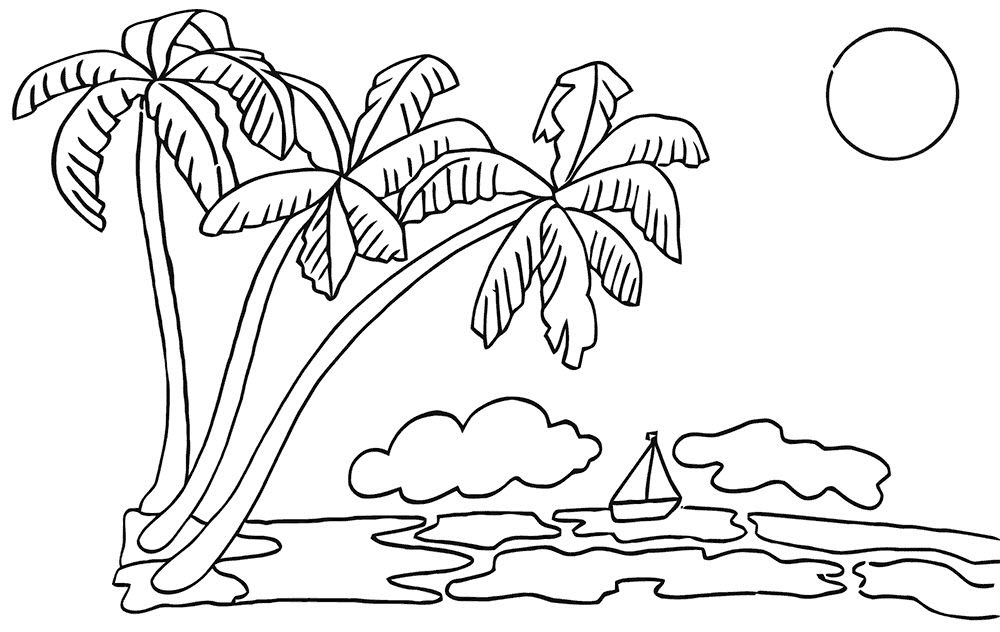 Hình tô màu cây dừa và bãi biển