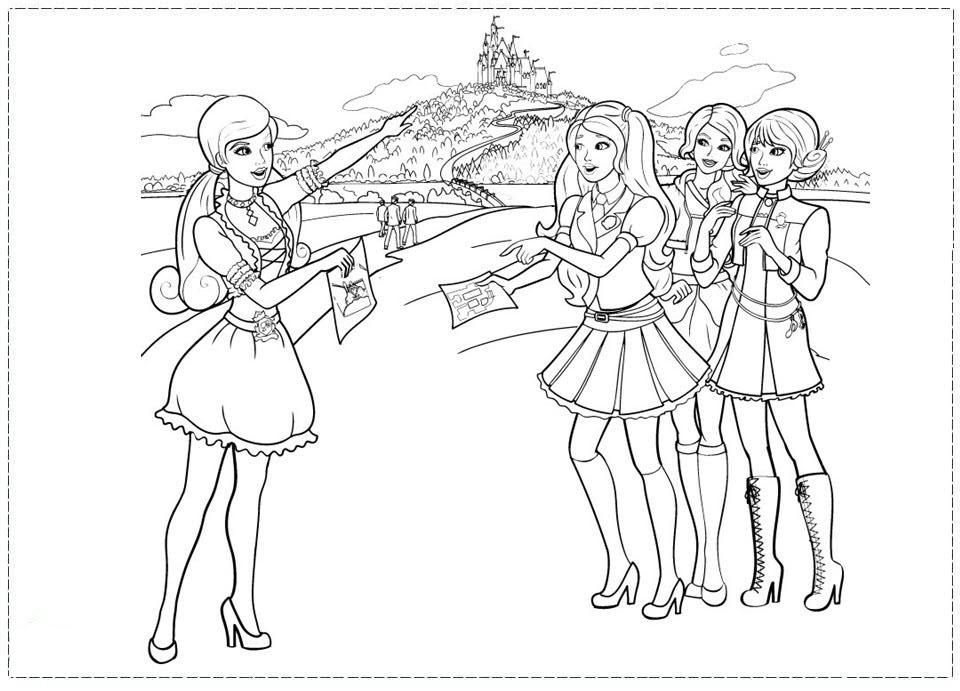 Hình tô màu công chúa Barbie đi dã ngoại