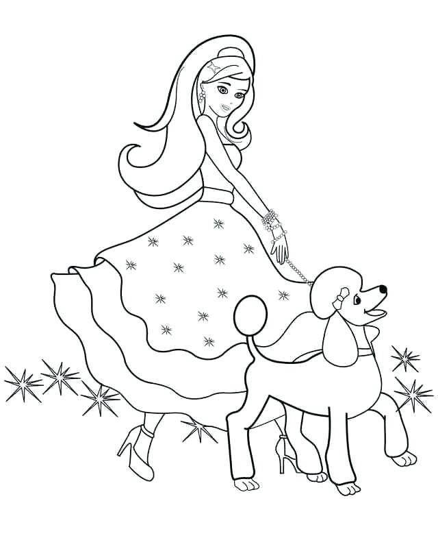 Hình tô màu công chúa Barbie đi dạo