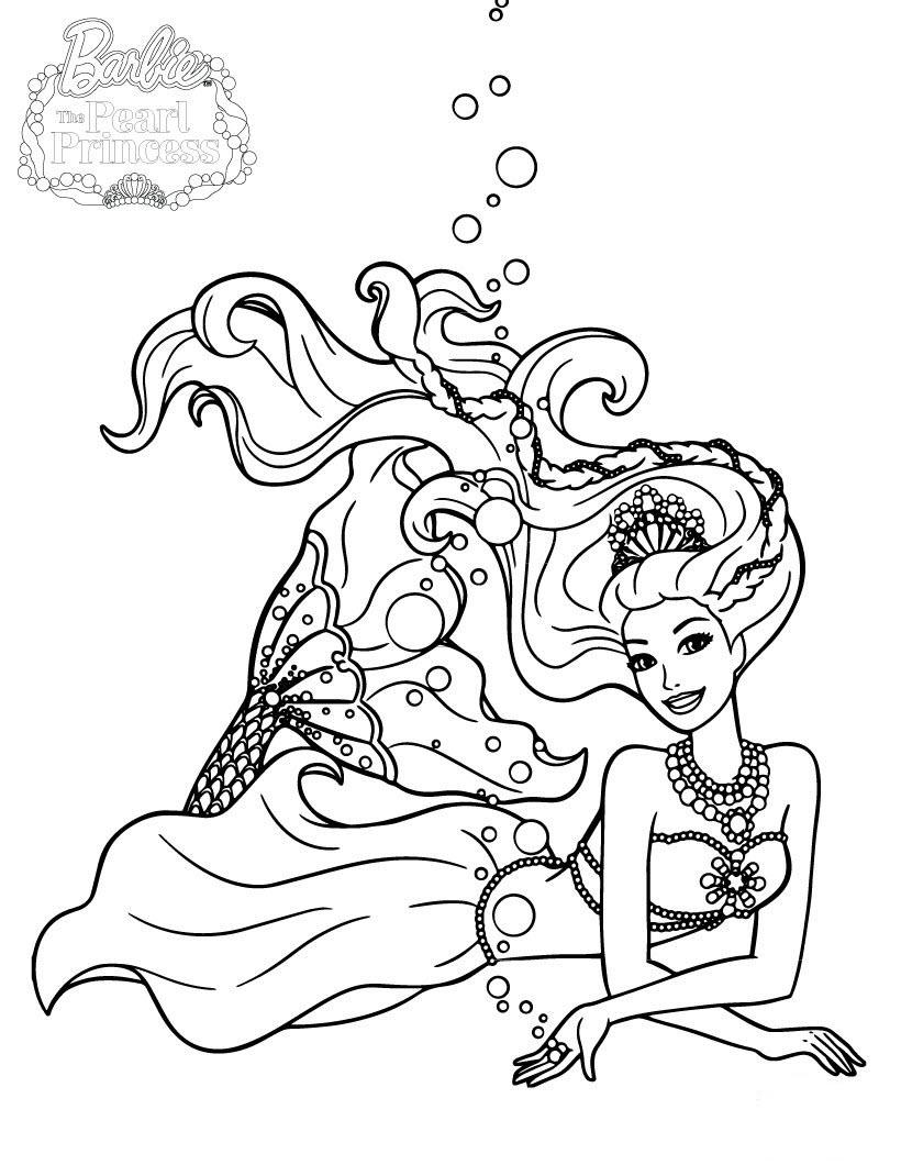 Hình tô màu công chúa Barbie với đuôi tiên cá
