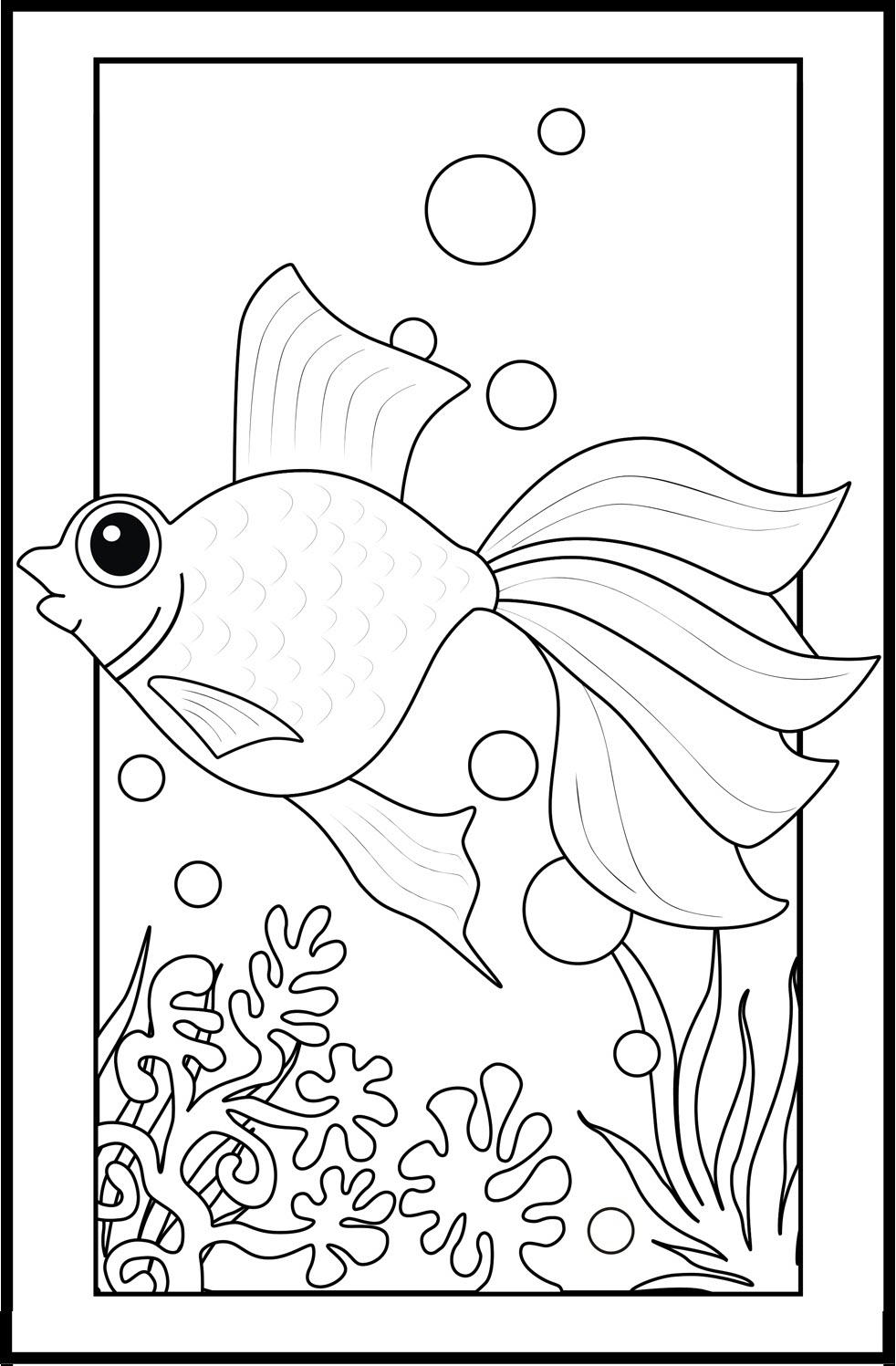 Mẫu tranh tô màu cá vàng