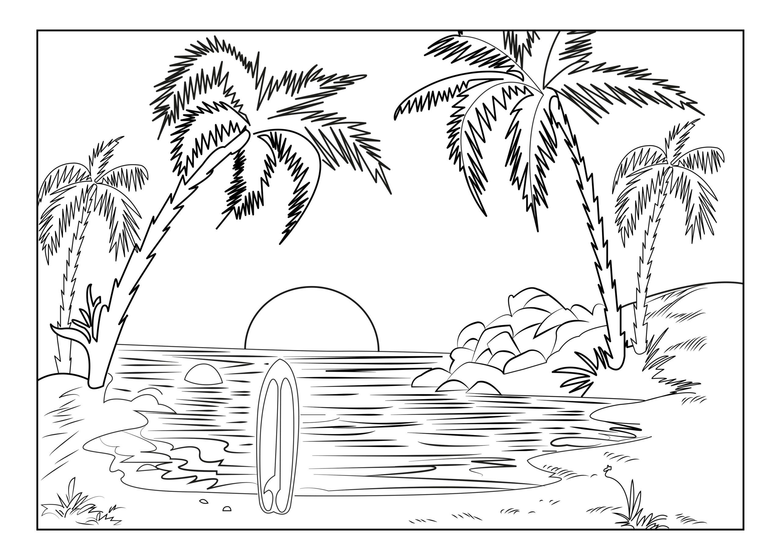Tranh cây dừa và cảnh biển buổi sáng cho bé tô màu