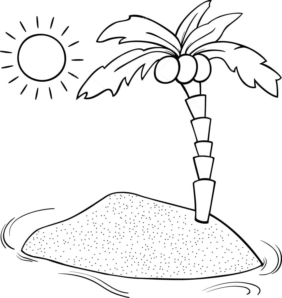 Tranh cho bé tô màu hình cây dừa