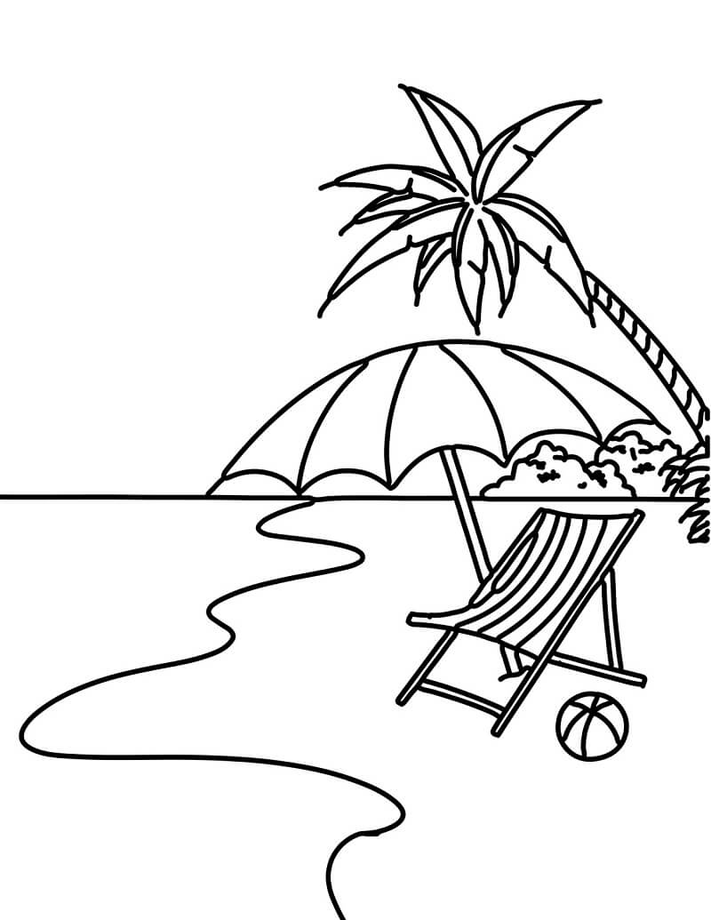Tranh tô màu bãi biển và cây dừa