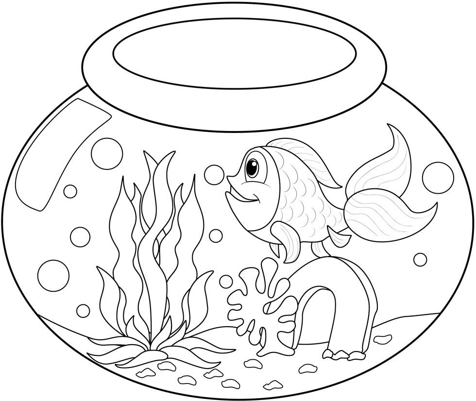 Tranh tô màu cá vàng bơi trong bể