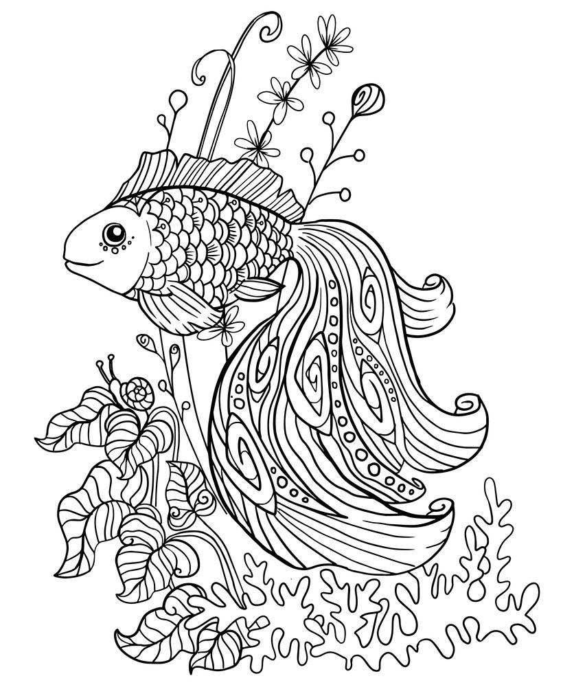 Tranh tô màu cá vàng cực lộng lẫy