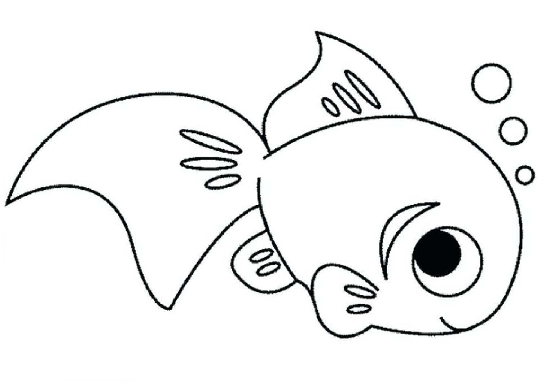 Tranh tô màu cá vàng dễ thương
