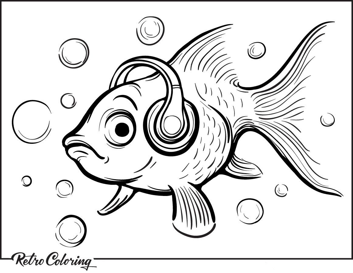 Tranh tô màu cá vàng đẹo tai nghe