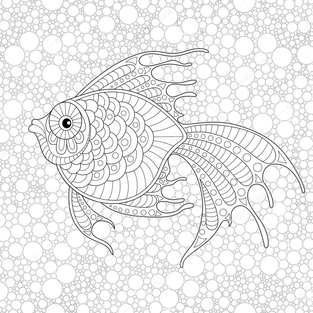 Tranh tô màu cá vàng đẹp, nhiều chi tiết