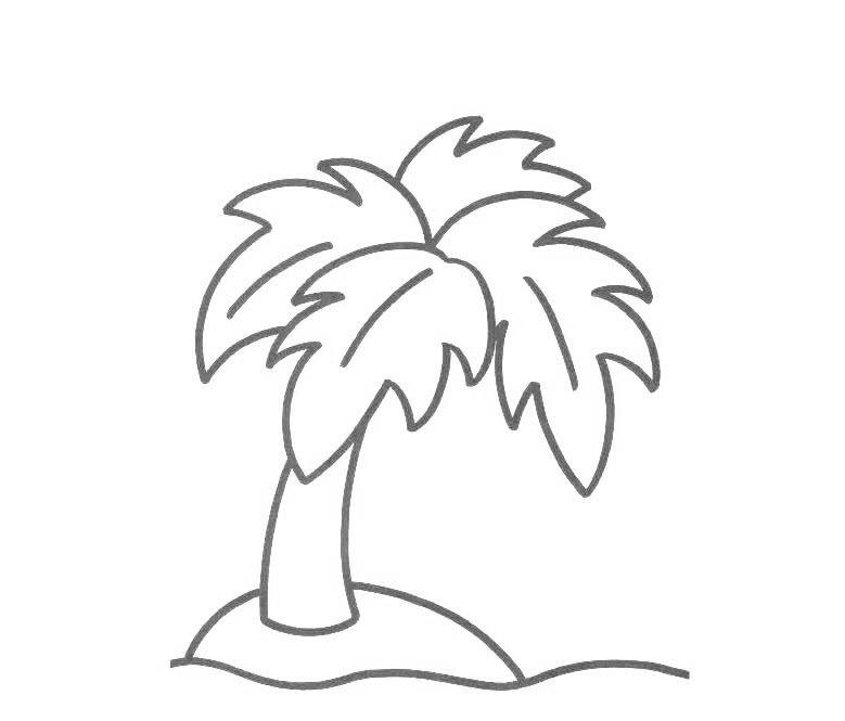 Tranh tô màu cây dừa dễ thương