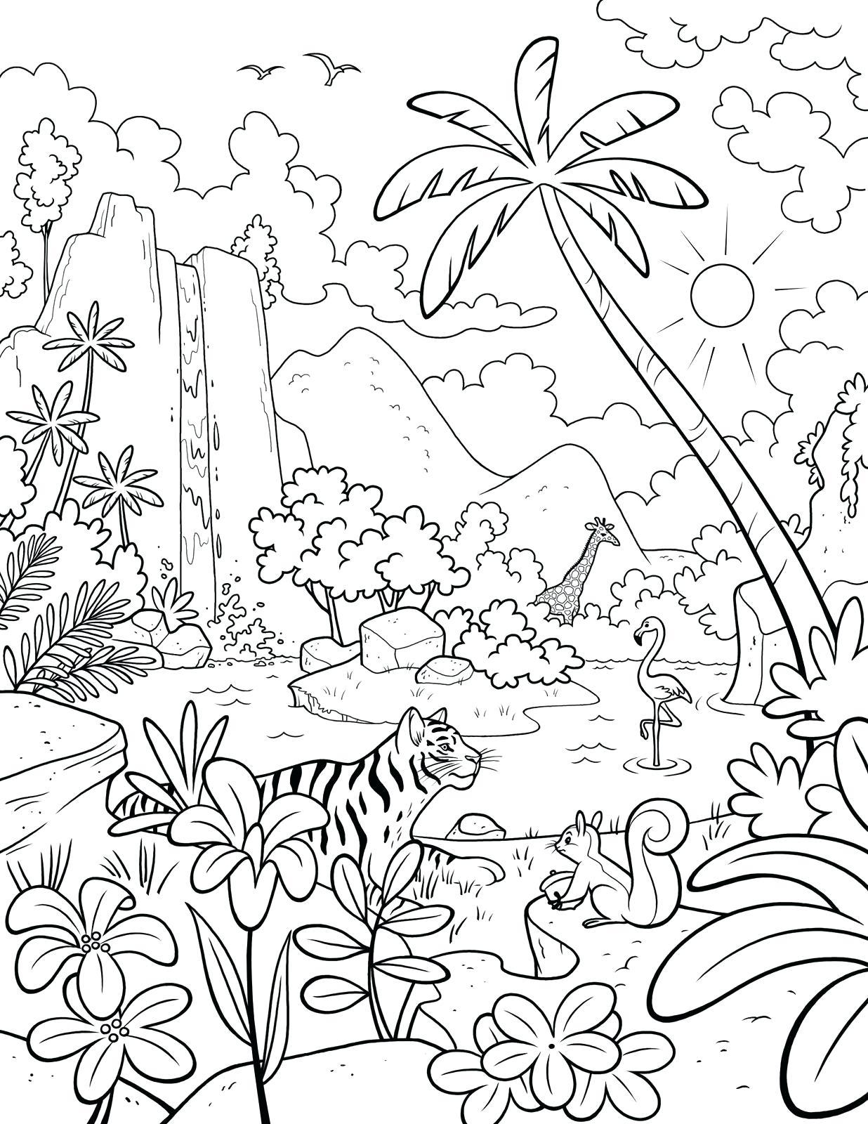 Tranh tô màu cây dừa trong trong rừng rậm