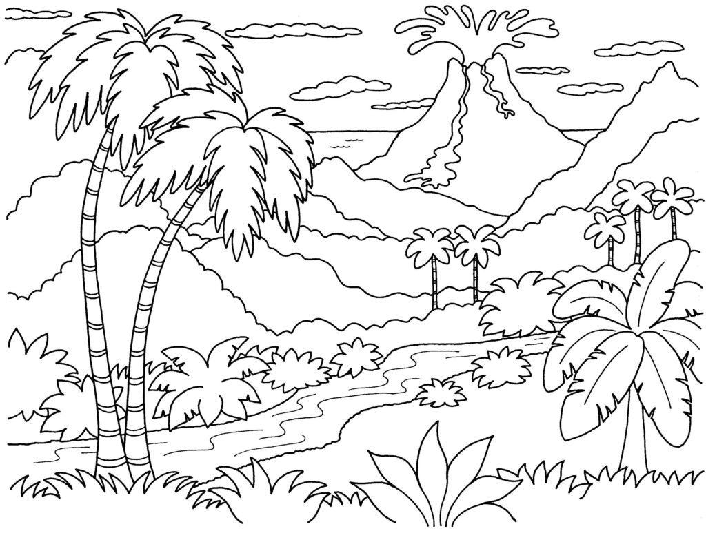 Tranh tô màu cây dừa và các loại cây khác