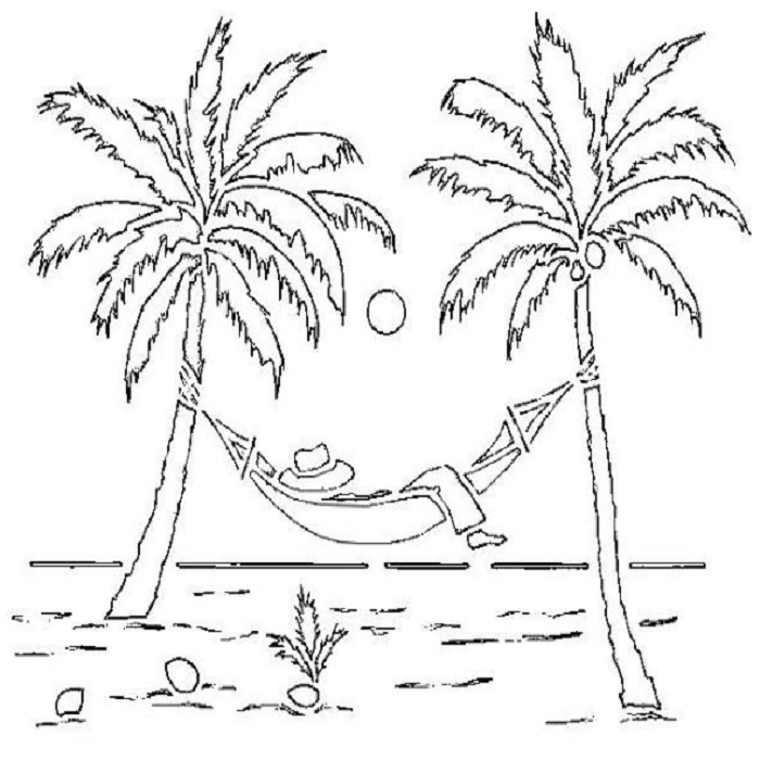 Tranh tô màu cây dừa và chiếc võng