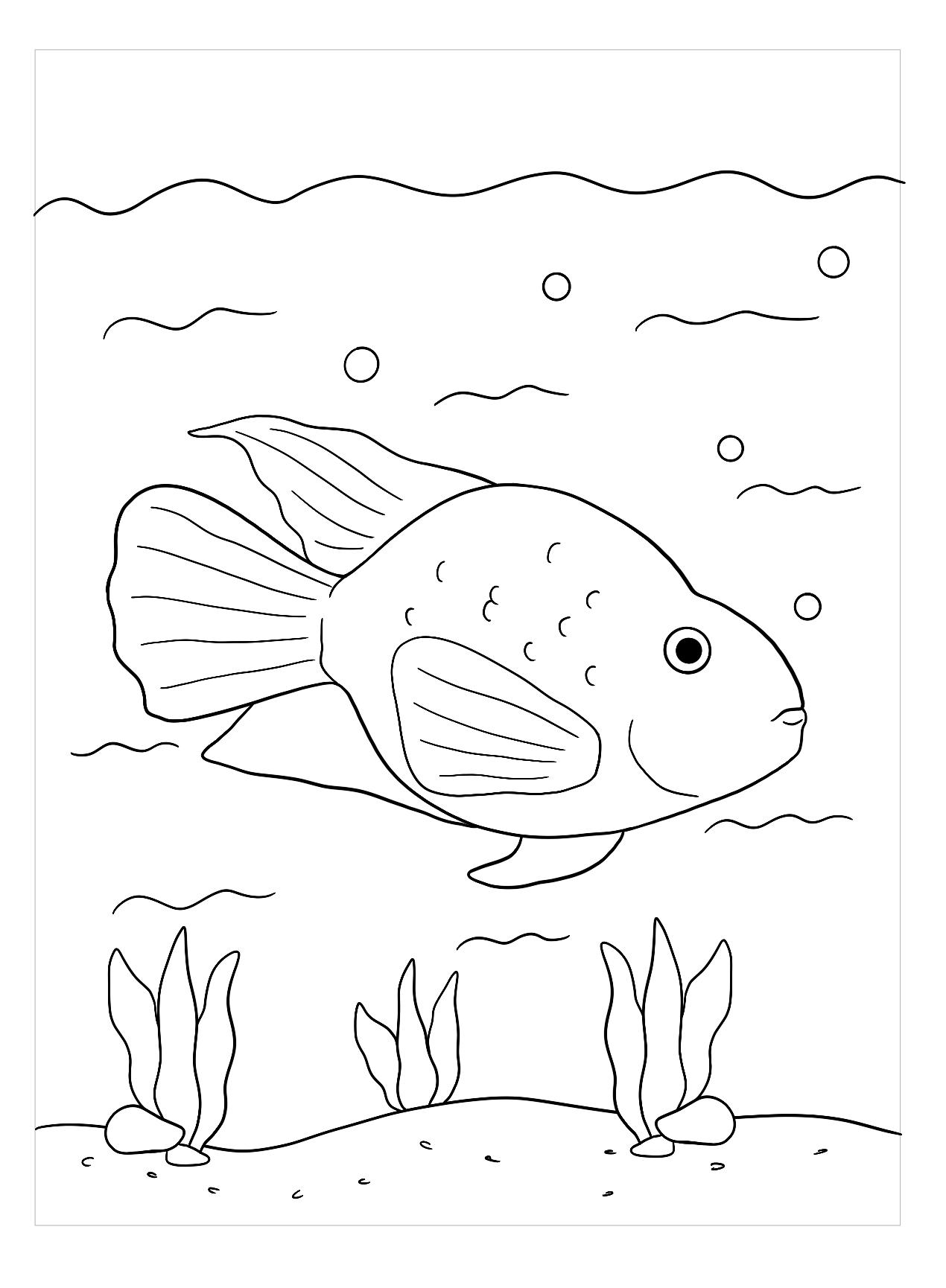 Tranh tô màu chú cá vàng dễ thương