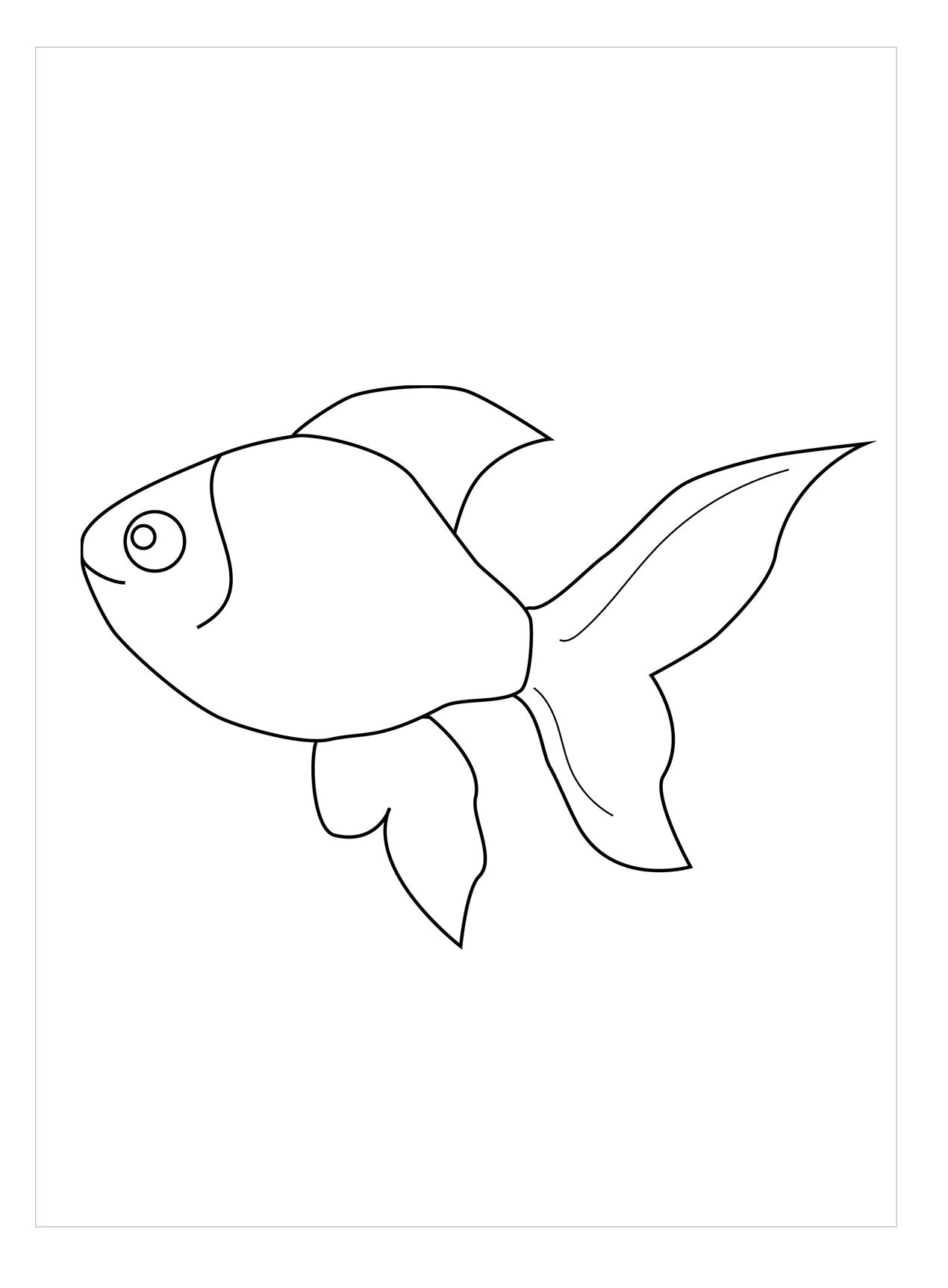 Tranh tô màu chú cá vàng đẹp, dễ thương nhất