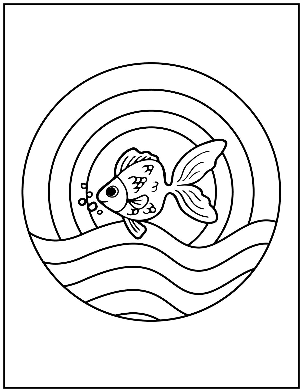 Tranh tô màu chủ đề cá vàng