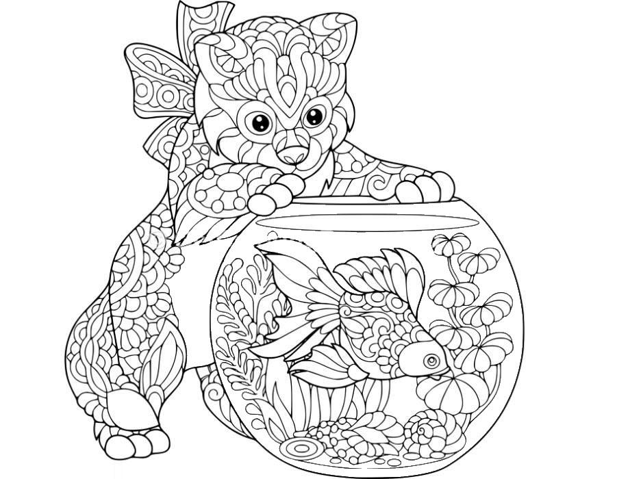 Tranh tô màu con mèo và bể cá vàng nhiều chi tiết