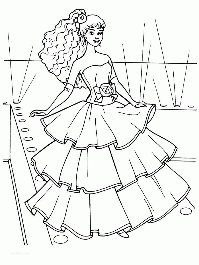 Tranh tô màu công chúa Barbie dễ thương, xinh đẹp