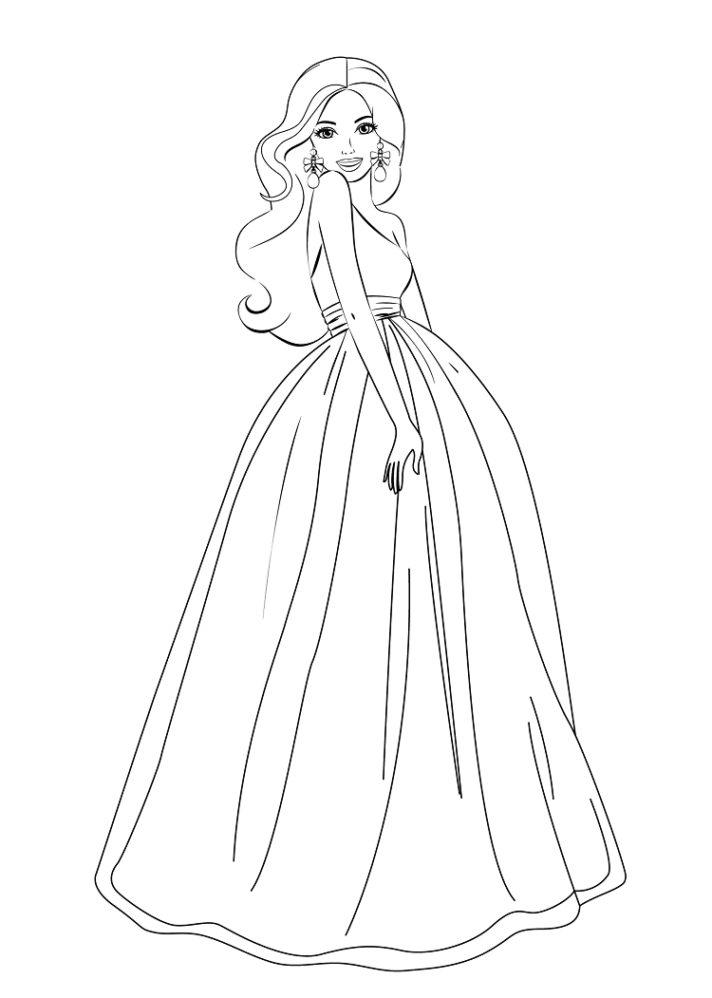 Tranh tô màu công chúa Barbie đẹp