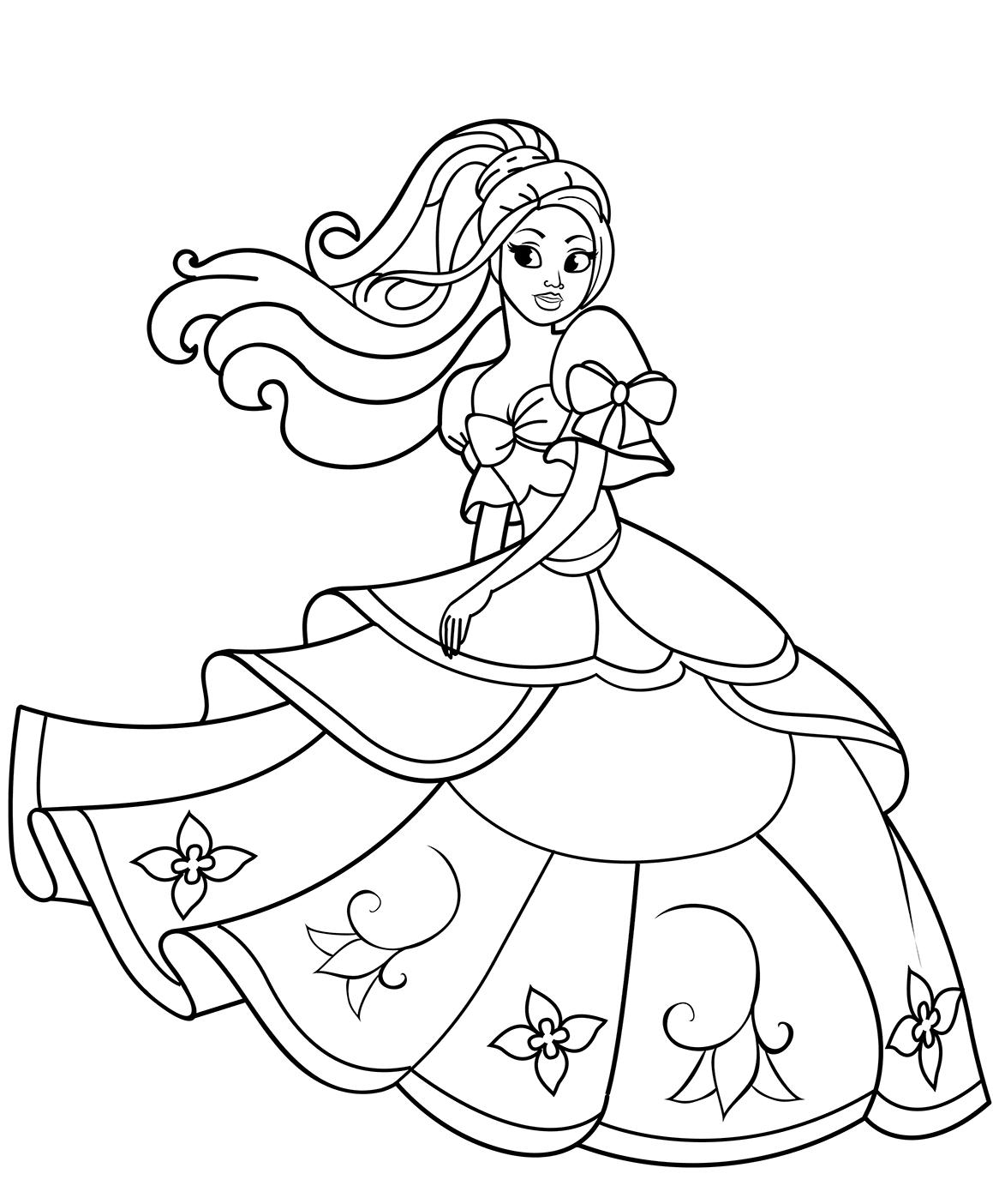 Tranh tô màu công chúa Barbie đơn giản, sắc nét