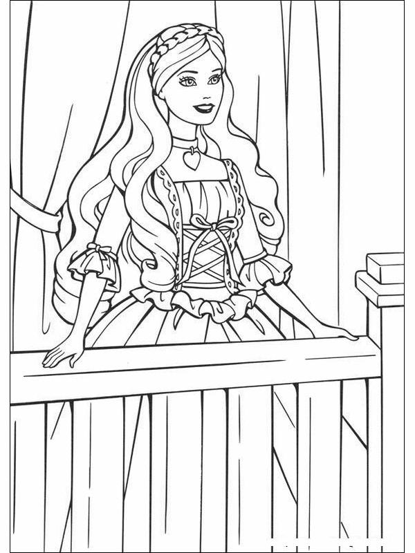 Tranh tô màu công chúa Barbie đơn giản