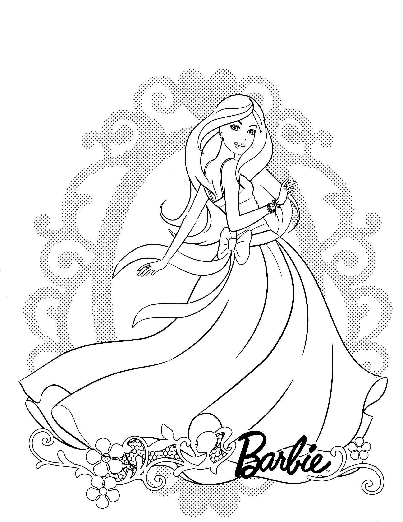 Tranh tô màu công chúa Barbie rạng rỡ, đẹp nhất