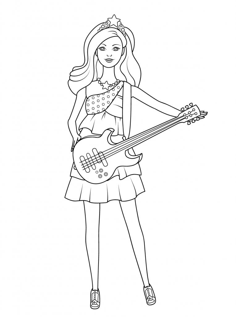 Tranh tô màu công chúa Barbie và cây đàn Guitar