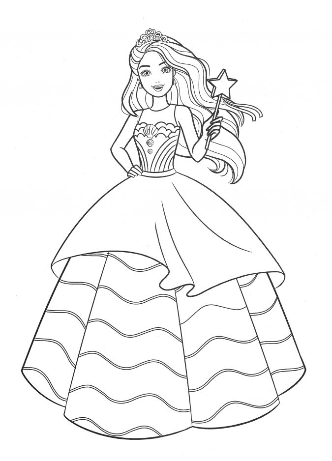 Tranh tô màu công chúa Barbie và cây gậy phép thuật