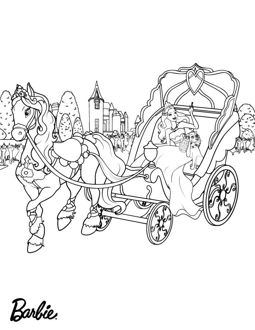 Tranh tô màu công chúa Barbie và chiếc xe ngựa