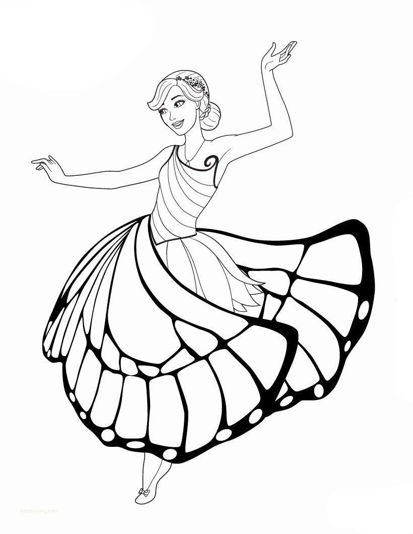 Tranh tô màu công chúa Barbie với chiếc váy cực đẹp